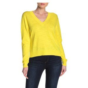 J. Crew Yellow Slub Knit V-Neck Sweater